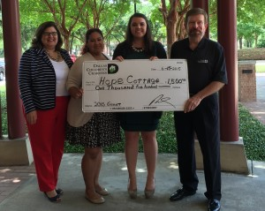 (l to r) Leslie Clay (Hope Cottage Chief Development Officer), Katherine Arredondo (Foster to Adopt Case Manager), Christa (Foster to Adopt Home Developer) and Greg Darnall (Dallas Children's Charities Representative)