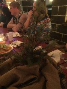 It is only fitting that the table be festooned with a Charlie Brown Christmas tree